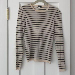J Crew merino wool cream/navy striped sweater, S